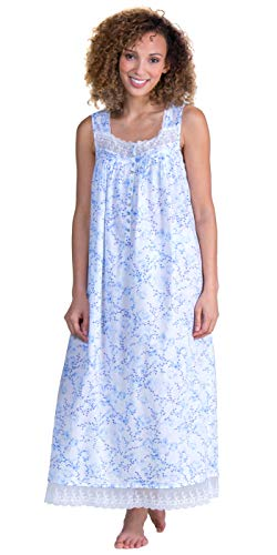 Eileen West Lawn Ballet Floral Woven Nightgown, XL, Blue Floral