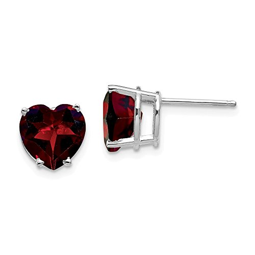 - 14k White Gold 8mm Heart Red Garnet Post Stud Earrings Love Gemstone Fine Jewelry Gifts For Women For Her