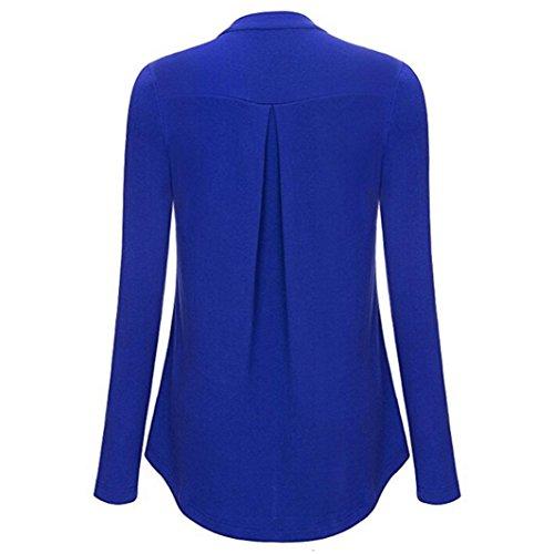 Crop Top Chemisier T Vest Longues Manches Haut Beikoard Shirt Femme Blouse Neck Pure à Fermeture Débardeur V éclair Tops Bleu Debardeur Tops Couleur ZvWxWaOR
