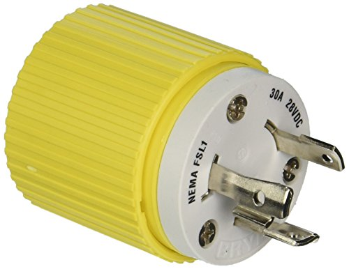 Hubbell Wiring Systems HBL328DCP Locking Plug, 30A, 28 VDC, Yellow ()