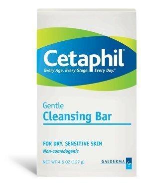Cetaphil Gentle Cleansing Bar - For Dry, Sensitive Skin - Net Wt. 4.5 OZ (127 g) Each - Pack of 4 by Galderma