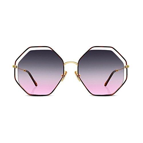 Pink LIZHIQIANG Sol Sol Color Polígono Mujer Gafas De Caja Hueca Gran Gafas Marrón De Tendencia rrqSvw6E