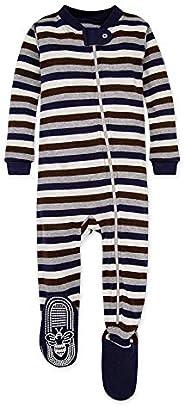 Burt's Bees Baby Baby-Boys Organic Stripe Zip Front Non-Slip Footed Sleeper Paj