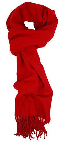 Love Lakeside-Women's Cashmere Feel Winter Solid Color Scarf Red