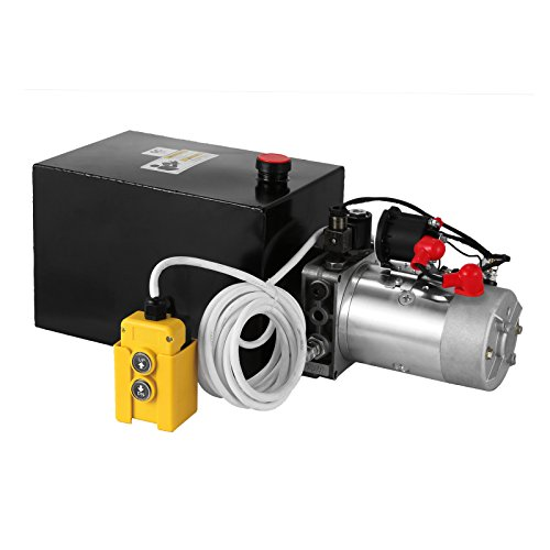 Mophorn 8 Quart 12V Hydraulic Pump Dump Trailer Power Unit (Steel, 8 Quart/Single Acting) - Single Acting Pump