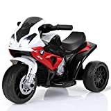 Costzon Kids Ride on Motorcycle, 6V Battery Powered 3 Wheels Motorcycle Toy for Children Boys & Girls, Electric Ride on Motorcycle w/Headlights &Music, Pedal (Red)