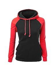 CeRui Women Basic Solid Comfortable Pullover Hoodie Raglan Sweatshirt