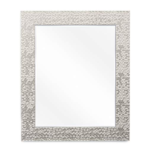Wall Beveled Mirror Framed – Bedroom or Bathroom Rectangular Frame Hangs Horizontal Vertical by EcoHome 27×33, Brushed Nickel