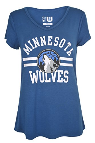 UNK NBA Women's Minnesota Timberwolves T-Shirt V-Neck Relaxed Fit Short Sleeve Tee Shirt, Large, Blue Minnesota Timberwolves T-shirt