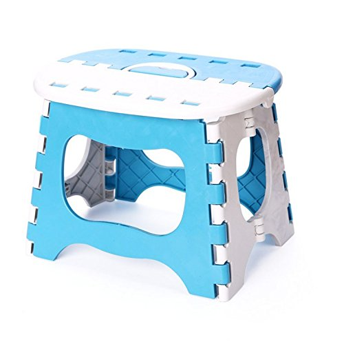 (Foldable Stool / Folding Step Stool for Kids and Adults - Plastic Multifunctional Stepping Stool - Easy for Carrying, Great for Travel and Outdoor Use - Blue)