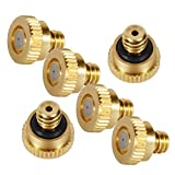 """KUWAN 0.016"""" Orifice (0.4mm) Thread UNC 10/24 Brass Misting Nozzles Low Pressure Atomizing Misting Sprayer Water Hose Nozzle for Greenhouse, Landscaping, Outdoor Cooling Mister System"""