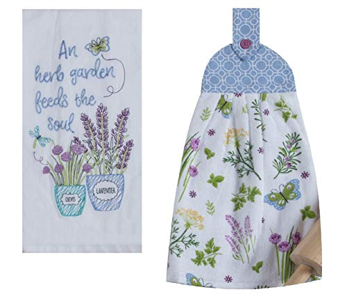 (2 Piece Herbs and Butterflies Blue and white Kitchen Towel Set an Herb Garden Feeds The Soul Embroidered Flour Sack Towel and Terrycloth Tie Towel)