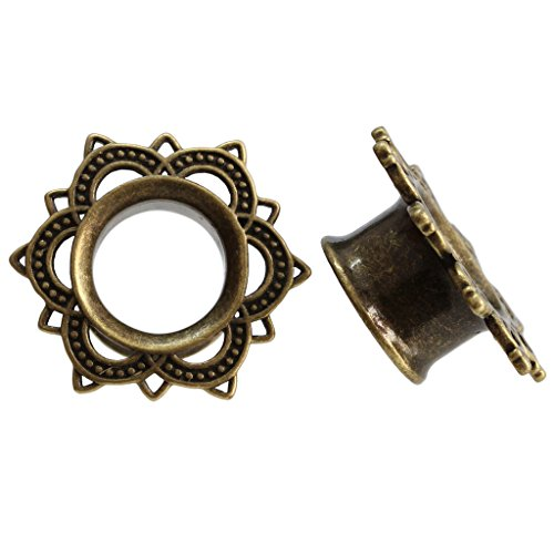 Antiqued Brass Tribal Lotus Flower Single Flare Flesh Tunnel Ear Gauge Plug Stretcher Stretching Kit 00g 10mm