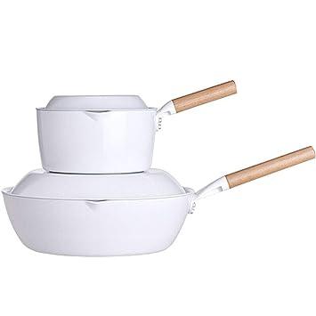 Taste plus Wok de cerámica Antiadherente, Bandeja de Leche de inducción Profesional, Wok y Tapa antiadherentes de inducción Gourmet (Style : 2-Piece Pan ...