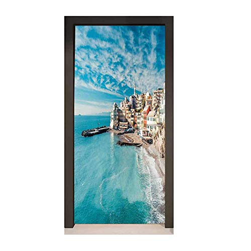 Homesonne Italy 3D Door Decal Panorama of Old Italian Fishing Village Beach in Old Province Coastal Charm Image for Office Decoration Turquoise,W23xH70