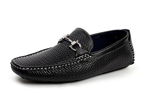 JAS Hombre Sin Cierres Diseño Italiano Mocasines Conducción Zapatos Casual Náuticos Elegante Mocasin - Negro, 5 UK/39 EU