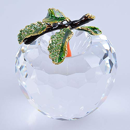 UATECH Ship from USA Clear White Apple Model Crystal Paperweight Decoration Glass Fruit 80mm Decoration Wedding Gift