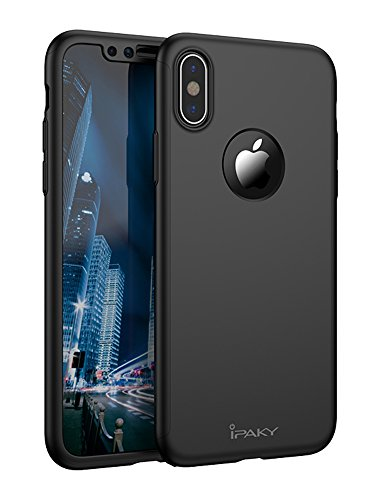 iPhone X Full Body Case, IPAKY 360 Degree Protection Ultra Thin Hard Slim Cover Coated Non Slip Matte Surface with Nano Anti-Explosion Screen Protector for Apple iPhone X (Black)