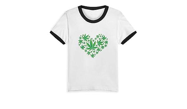 Queen Elena - Camiseta de algodón con diseño de Hojas de Marihuana y Corazones Verdes para niños de 2 a 6 años Negro Negro (3 años: Amazon.es: Ropa y accesorios