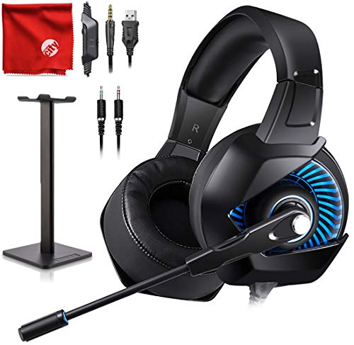 - ONIKUMA K6 Blue LED Light Pro Over-Ear Surround Sound Noise Cancelling Gaming Headset Microphone Bundle with Headphone Stand for PC, Xbox One, PS4, Nintendo Switch, Mac, Desktop, Laptop, Computer