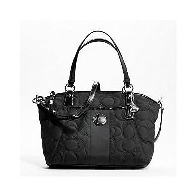 Amazon.com: Coach bolsa de costura de bolsa de nylon negro ...