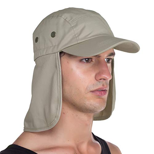 Top Level Fishing Sun Cap UV Protection - Ear and Neck Flap Hat, Sand