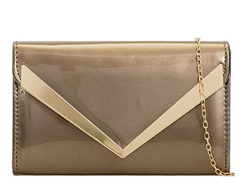 Purse Patent Bag Evening Handbag Glossy Pewter Ladies Clutch KZ841 Women's Bag Envelope Wallet 1w8XFd