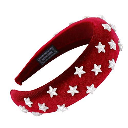 Fashionhe Velvet Star Hairband Women Hair Head Hoop Girls Sweet Headband Sponge Hair Accessories(Red)