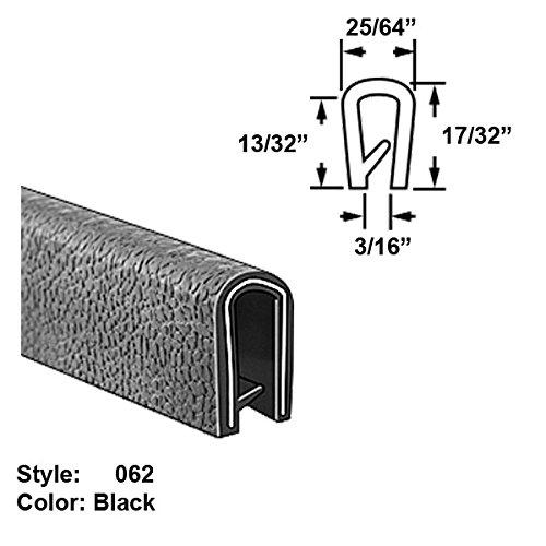 Flame-Retardant Plastic U-Channel Push-On Trim, Style 062 - Ht. 17/32'' x Wd. 25/64'' - Black - 25 ft long by Gordon Glass Co.