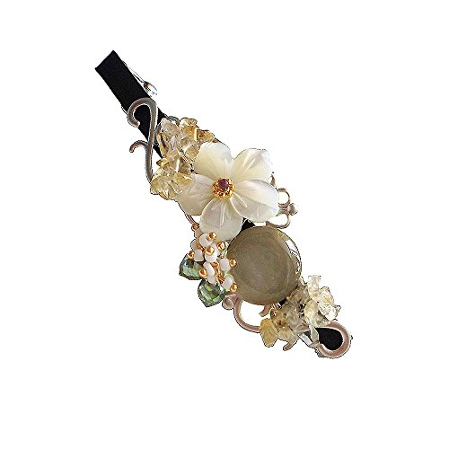 (Hanabe Handmade Natural Mother of Pearl Nugget Crystal Glass Beaded Hair Pin Barrette Gray White Beige)
