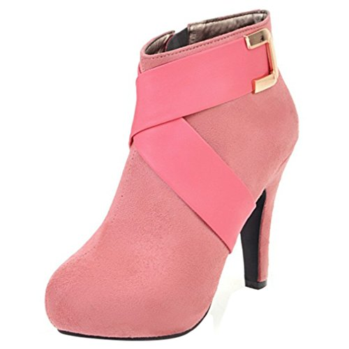 Enmayer Suede Material Zapatos Botines Para Mujer High Heels Round Toe Zippers Short Botas Pink