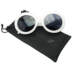 White Oval Retro Inspired Mod Fashion Women's Suglasses (White, Black)