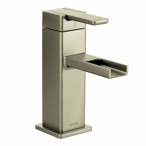Moen S6705BN 90-Degree One-Handle Low Arc Bathroom Faucet, Brushed Nickel by Moen
