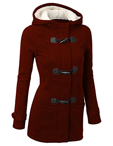 BYD Femmes Manteaux  Capuche Bouton Corne Blouson Veste Jacket Manches Longues Chaud pais Hoodie Hoody Outwear Automne Hiver Slim Fit C-rouge