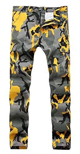 QZH.DUAO Men's Camo Denim Jeans