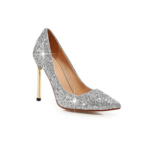 Balamasa Mujeres Electroplate Heel Lentejuela Pull-on Frosted Pumps-Zapatos Plata