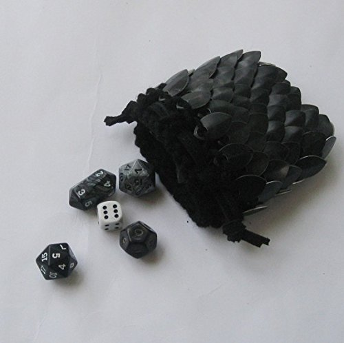 Bag Dice Leather (Scalemail Dice Bag in knitted Dragonhide Armor- Black)