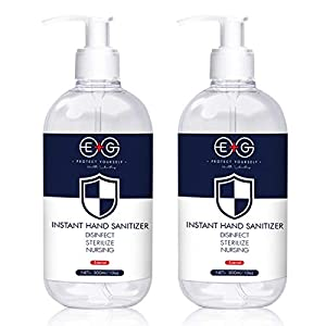 (2Pack×10.15 Fl Oz/300ML)EG Refreshing Hand Sanitizer Gel,Washless Hand Soap Gel, Super-Large Capacity Household Cleaning Gentle Hydrating Hand Sanitizer Soothing Gel,Non-irritating,Pump Bottle (300 M