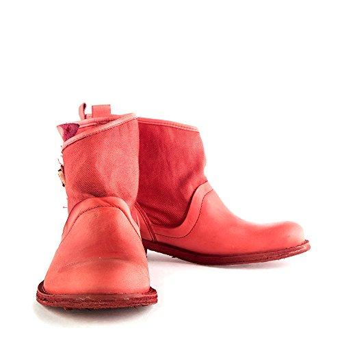 Felmini - Zapatos para Mujer - Enamorarse com Gredo 8264 - Botines Cowboy & Biker - Tela + Cuero Genuino - Rojo - 0 EU Size Rojo