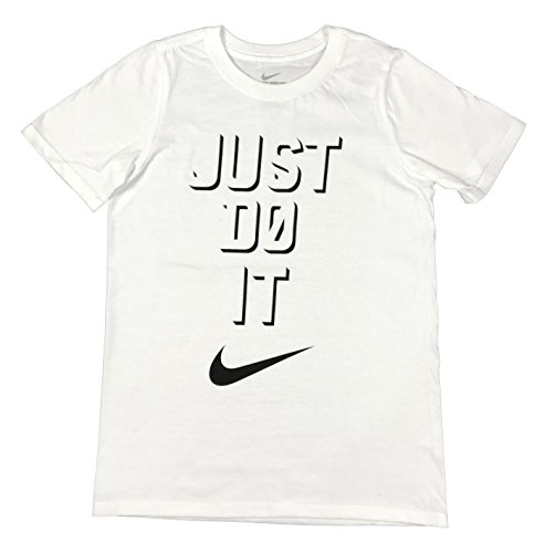Helmet White Cotton (Nike Boys Simple Just Do It Big Swoosh Graphic Cotton Shirt White/Black (Medium))