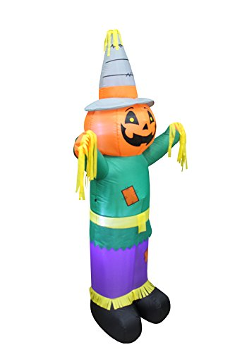 6 Foot Tall Happy Thanksgiving Halloween Inflatable Pumpkin Scarecrow LED Lights Decor Outdoor Indoor Holiday Decorations, Blow up Lighted Yard Decor, Giant Lawn Inflatables Home Family Outside by BZB Goods (Image #1)
