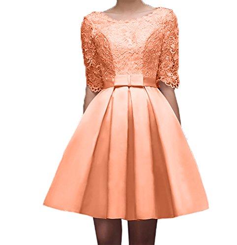 Damen Kurzarm Spitze Orange Festlichkleider Knielang Hell Charmant Abendkleider Suessig Ballkleider Partykleider Promkleider Ox1nwRaq