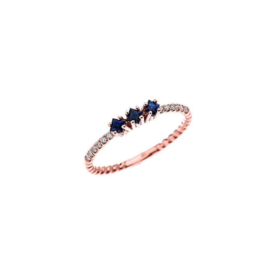 14k Rose Gold Three Stone Princess Cut Sapphire and Diamond Dainty Rope Design Ring