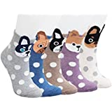 SockStory 5 Rich Cotton Cute Socks with Dots and Dogs for Girls in a GiftBox
