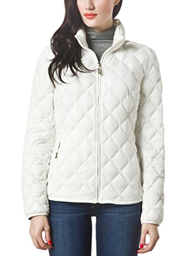 XPOSURZONE Women Packable Down Quilted Jacket Lightweight Puffer Coat Winter White L