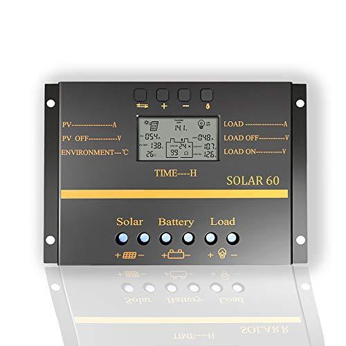 OOYCYOO 60A / 80A Solarladeregler, 12V / 24V Auto Batterieladeregler mit LCD-Anzeige 5V USB-Ladegerät für Mobilgeräte Verbesserter Kühlkörper