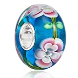 Lampwork Murano Glass Charm 925 Sterling Silver Core Fits European Charm Bracelet
