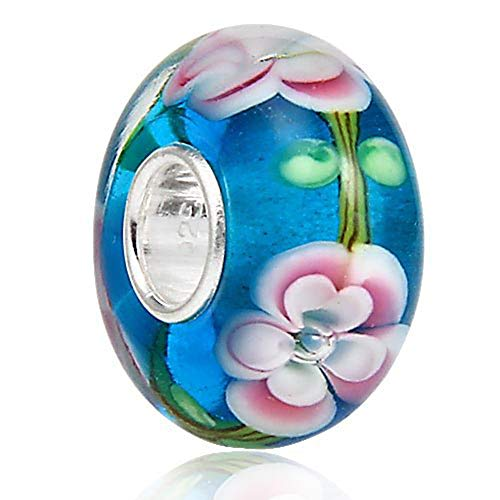 (Lampwork Murano Glass Charm 925 Sterling Silver Core Fits European Charm Bracelet)