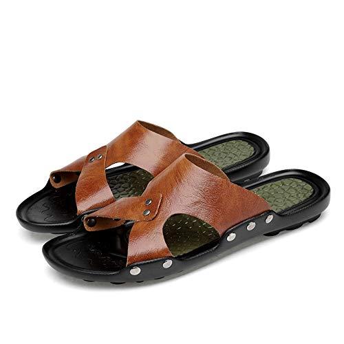 À Taille Pu En Eu Hommes 36 color Noir Jiuyue Pour Marron Cuir Pantoufles Talons Chaussures Falt Grande shoes Hgwwqp4x8