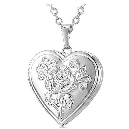 ocket Pendant Necklace Silver/Gold Color Romantic Love Heart Vintage Rose Flower Jewelry Women ()
